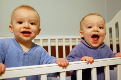 Duncan & Owen Standing in crib