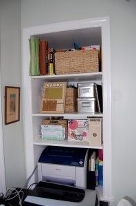 Josh built these shelves that are just perfect!