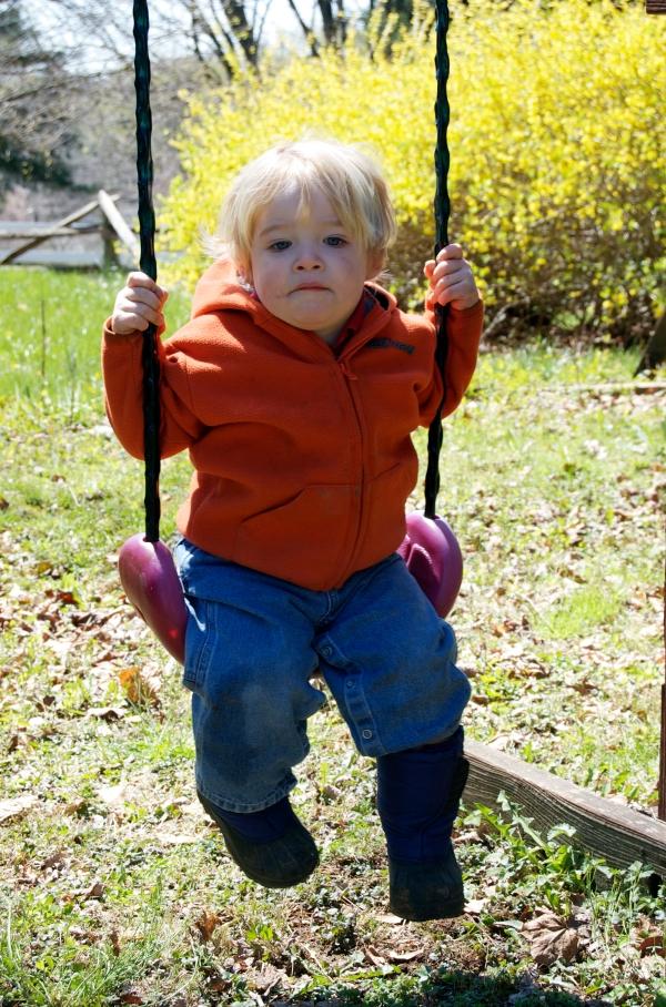 Owen swings like a big boy