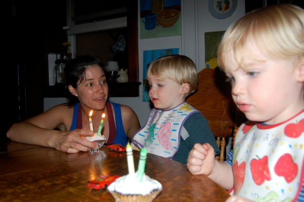 The boys blow out their candles for the first time!